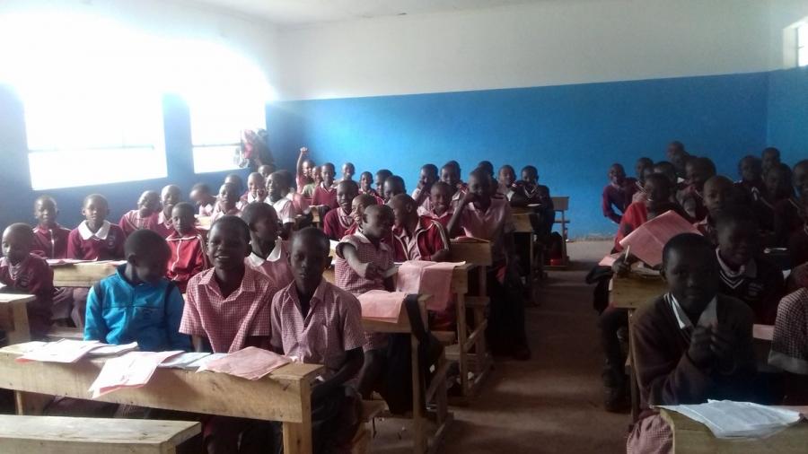 Pupils in a classroom at Kibowen Pry Sch constructed by Kenya Power as part of Wezesha Jamii.