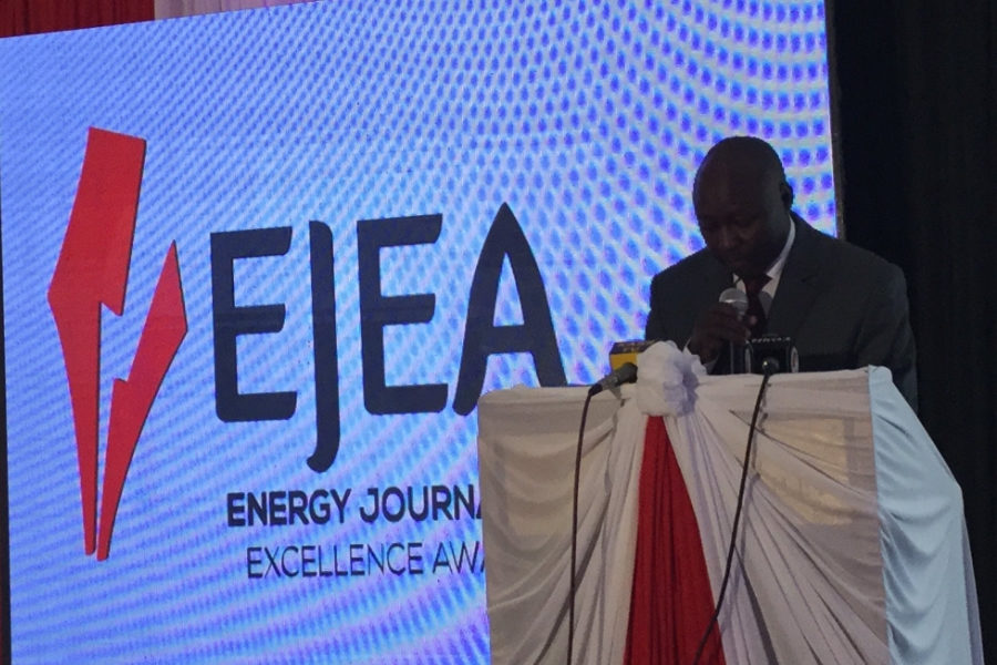 Dr. Ken Tarus makes official remarks during the launch of Energy Journalism Excellence Awards (EJEA III) at Sarova Stanely, Nairobi.