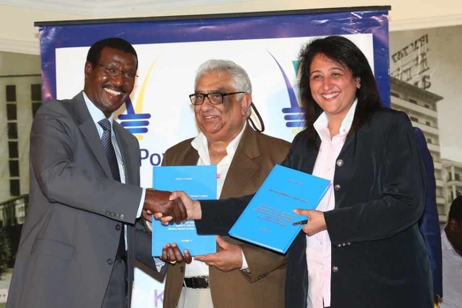 Kenya Power  MD & CEO, Dr. Ben Chumo (left), Polyphase Systems Ltd Directors, Kirtan Saggar (center) and  Anjali Mediratta.