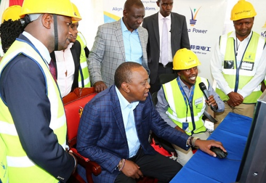 H.E President Uhuru Kenyatta launching the new City Centre 220/66 KV Gas Insulated Sub-station in Landhi Mawe.