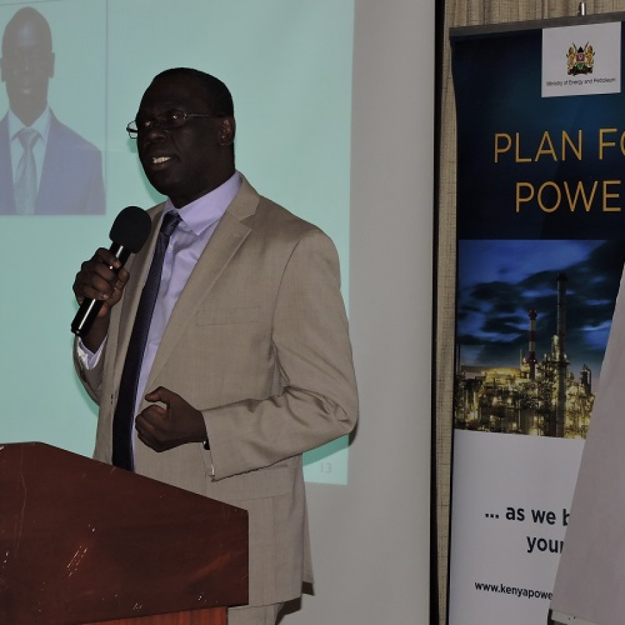 Ag.MD & CEO Jared Othieno makes his remarks at a Management Strategic Planning Retreat in Naivasha.