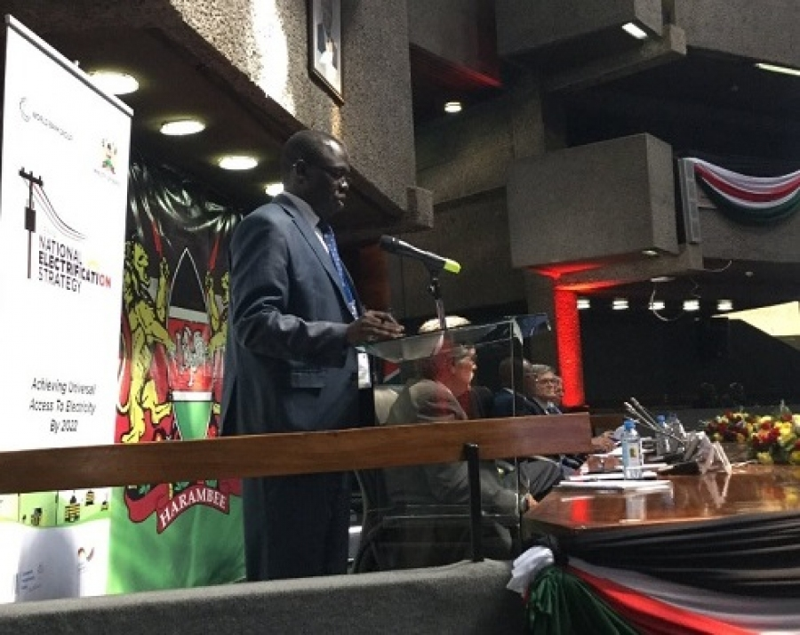 Ag. MD & CEO Eng. Jared Othieno giving a presentation during National Electrification Strategy launch at KICC.