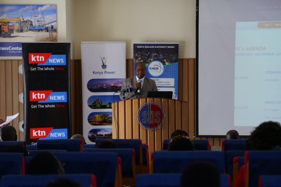Mr. Paul Mbuthi from the Ministry of Energy and Petroleum speaking at the 2nd Women in Energy Conference and awards.