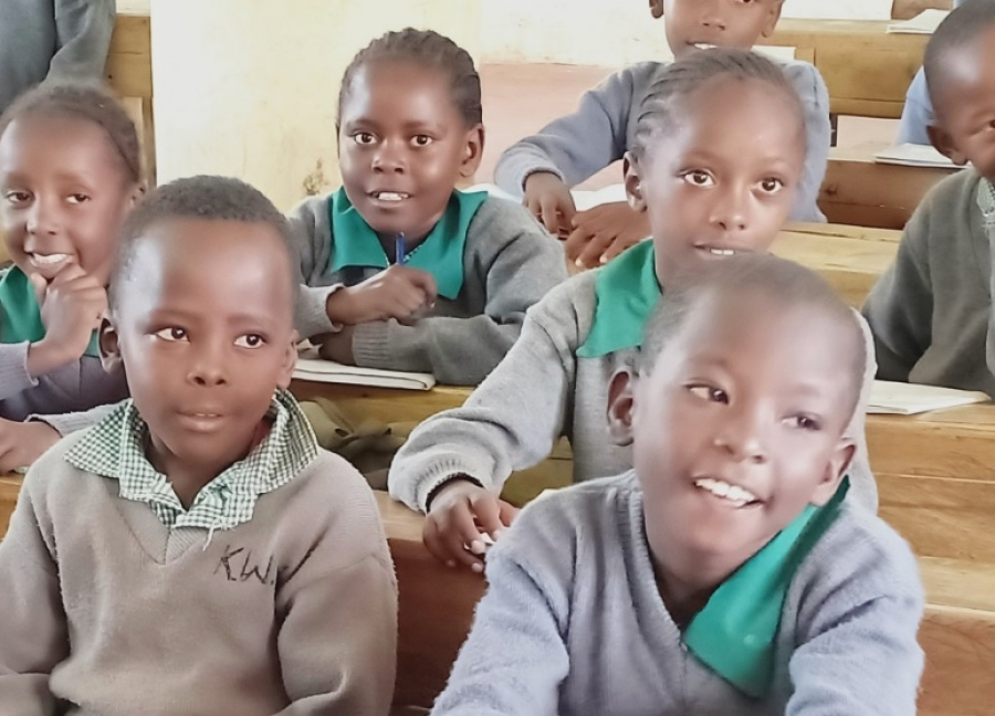 Happy faces in Mwihoko Primary School.