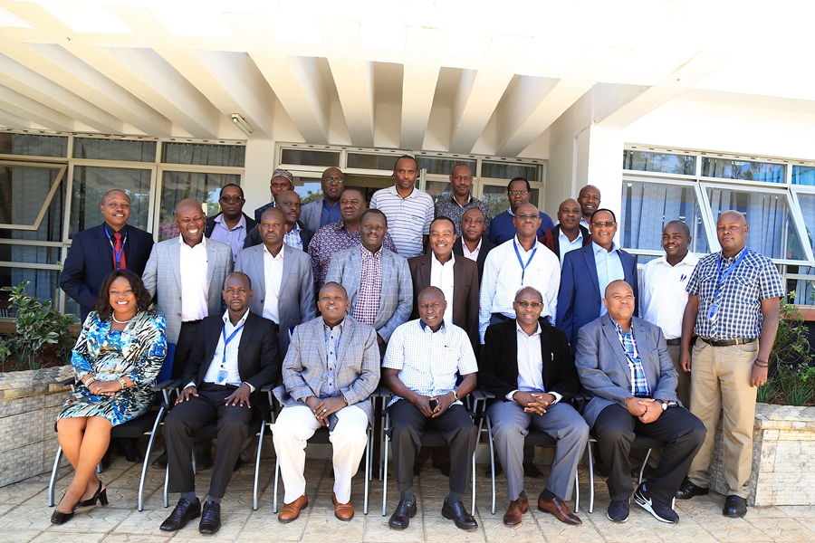 Management team pose for a group photo during a management meeting at the Institute of Energy Studies & Research #IESR Ruaraka, Nairobi.