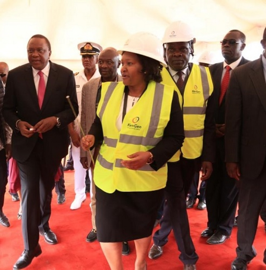 Kengen MD & CEO Rebecca_Miano takes H.E. President Kenyatta through #OlkariaV construction progress as Ag. MD & CEO Eng. Jared Othieno looks on #KenGenEnergizingKE.