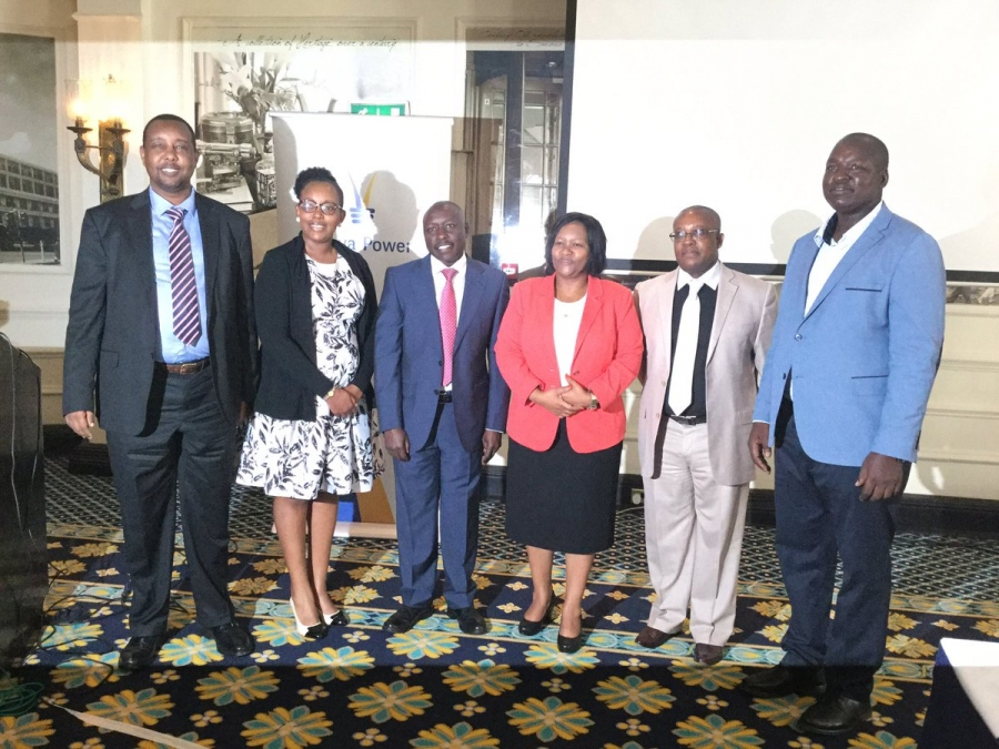 GDCKenya CEO Eng. Johnson Ole Nchoe and MD and CEO kenya power Ken Tarus and other energy sector managers pose for a group photo.