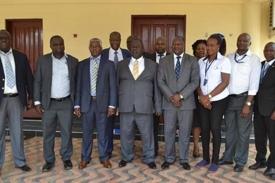 Homa Bay County Governor Cyprian Awiti, RM South Nyanza, Mr. John Guda and the CBM, Alex Amboko during a courtesy call at the county office.