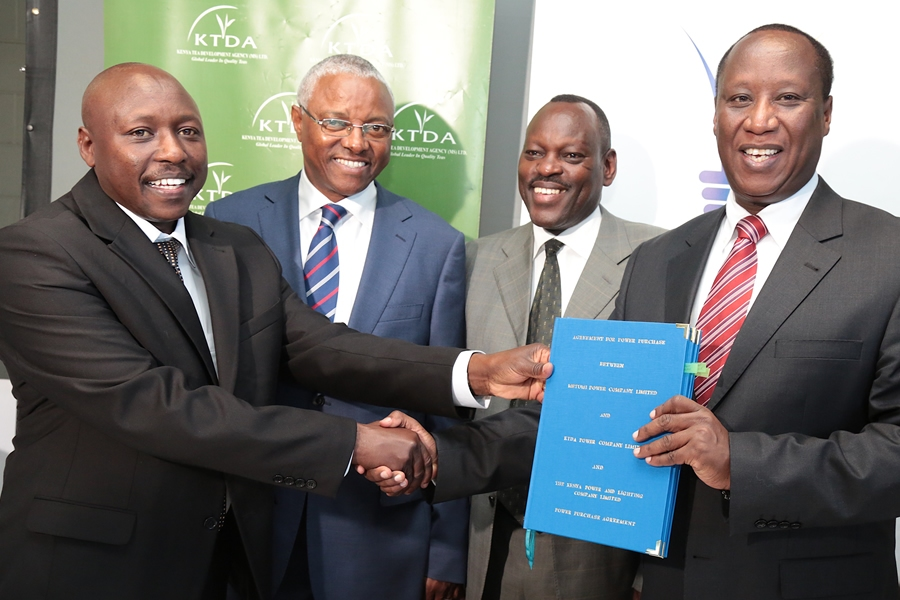 Kenya Power MD Dr KenTarus with @KTDATea CEO Mr Tiampati sign Power Purchase Agreement to sell 20.8MW to KPLC from 7 hydro power plants.