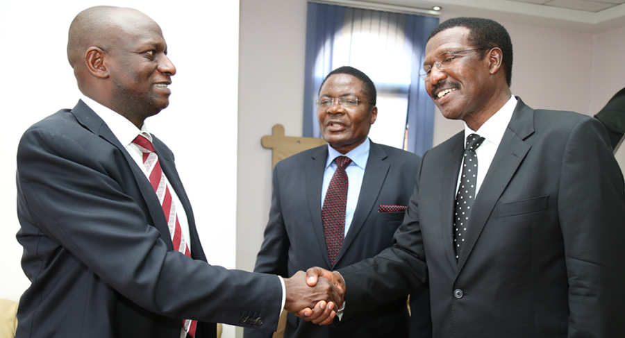 Hon. Charles Keter, Cabinet Secretary  Ministry of Energy & Petroleum is welcomed by MD & CEO Dr. Chumo as Board Chairman Hon. Kenneth Marende looks on.