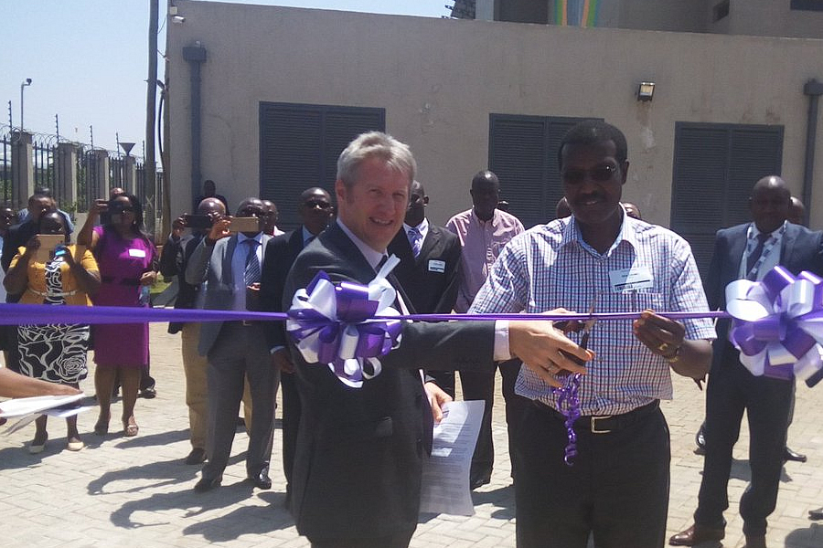 Ben Roberts CEO Liquid Telekom Kenya and Dr Ben Chumo launch Liquid Telkom Substation to improve quality of power supply.