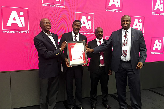 Dr. Ben Chumo proudly accompanied by Eng. Peter Mungai, Henry Kyanda and Ernest Nadome flaunts most socially responsible Africa Investor award #InstitutionalInvestmentSummit at Nasdaq, New York.