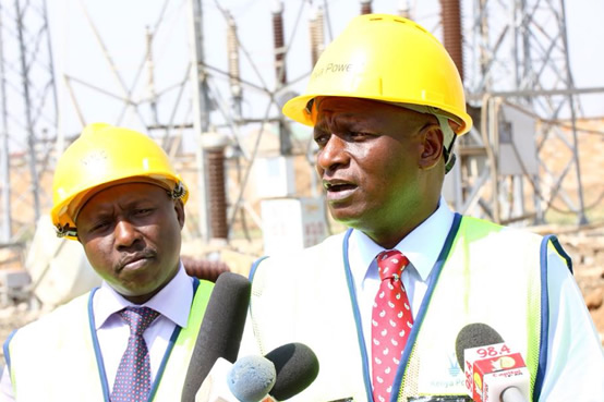 Energy CS Hon Charles Keter and MD & CEO Dr. Ken Tarus inspecting the new gas insulated substation at the National Power Control Center 09-01-2018.