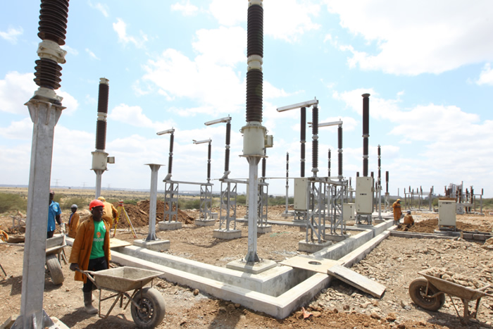 Bamburi Substation under construction. It is expected to improve the quality of supply for industrial customers in Athi River.