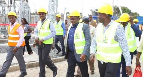 Dr. Chumo & other officials on a tour of Kabarak substation