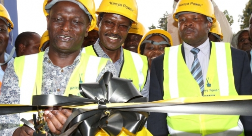 Dr. Chumo accompnied by other officials commissions Chepseon Substation